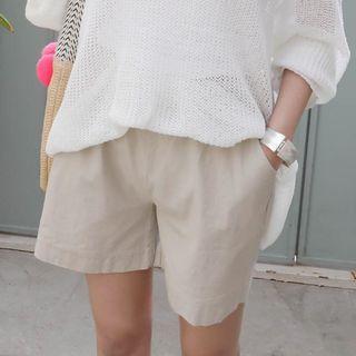 Seoul Fashion(ソウルファッション) - Band-Waist Pocket-Detail Shorts