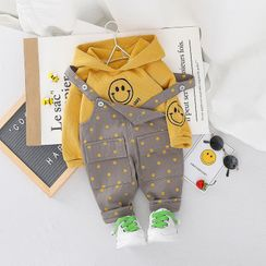 Mini Bae - Kids Set: Embroidered Hoodie + Dotted Jumper Pants