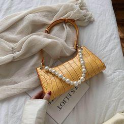 JAMEL - Faux Pearl Croc Grain Shoulder Bag