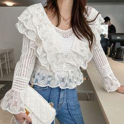 DABAGIRL(ダバガール) - Lace-Trim Crochet Blouse