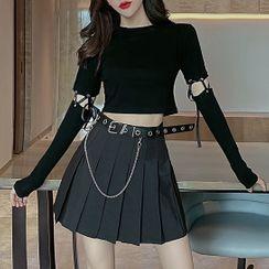 Robynn - 系带圆领长袖T裇 / 迷你打褶裥裙 / 仿皮腰带 / 套装