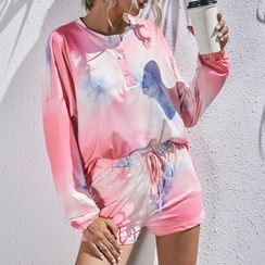 Chichi Izzy - Pajama Set: Dye Print Long-Sleeve T-Shirt + Shorts