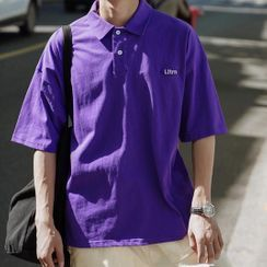 JUN.LEE - Embroidered Short-Sleeve Polo Top