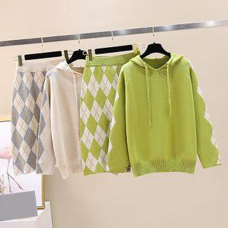 Rocho - Set: Argyle Knit Hoodie + Argyle Knit Straight-Fit Skirt