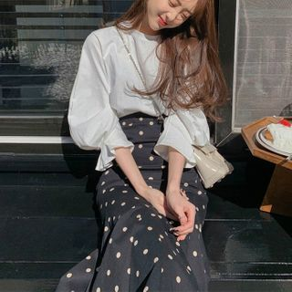 Leoom - Balloon-Sleeve Blouse / Dotted A-Line Skirt