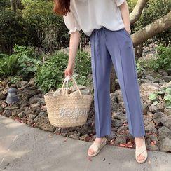LEELIN - Drawstring-Waist Seam-Trim Pants