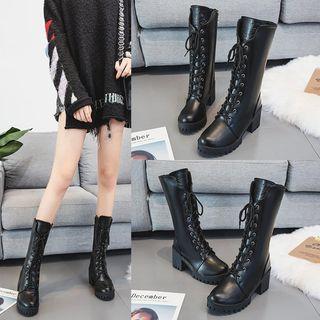 hunigala Lace-Up Platform Block Heel