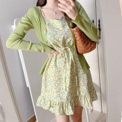 Leoom - Floral Print Short-Sleeve Mini A-Line Dress