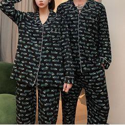 Victorinaka - Couple Matching Pajama Set: Crocodile Print Shirt + Pants