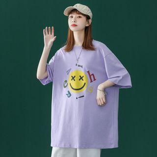 Samso - Elbow-Sleeve Smiley Face Print T-Shirt