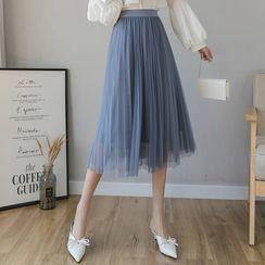 Luminato - Midi A-Line Mesh Skirt