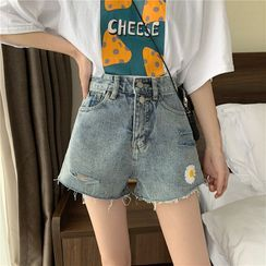 Sisyphi - Floral Embroidery Denim Shorts