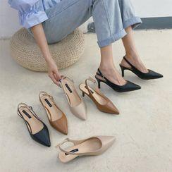 FiE FiE - Pointed Kitten-Heel Slingback Sandals