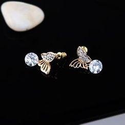 Prushia(プルシア) - Rhinestone Butterfly Drop Earring