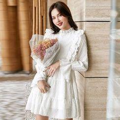 Dhan Dhan - Ruffled Long-Sleeve Textured A-Line Chiffon Dress