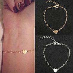 Zarafinus - Heart Pendant Alloy Bracelet