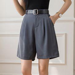 Donnae - Plain High-Waist Straight Leg Shorts