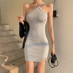 Newkoou - Sleeveless One-Shoulder Mini Bodycon Dress