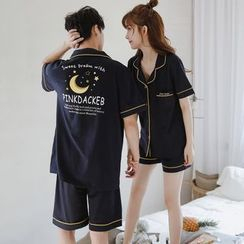 Endormi - Couple Matching Pajama Set: Moon Print  Short-Sleeve Top + Shorts