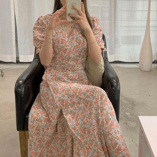 Leoom - Floral Short-Sleeve Midi A-Line Dress