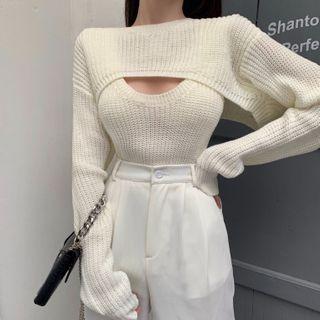 Rerise - 套装: 针织背心 + 短款毛衣