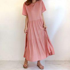 WITH IPUN - Round-Neck Maxi Tiered Dress