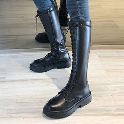 SouthBay Shoes - Platform Lace-Up Tall Boots