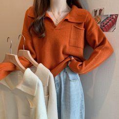 MIKIGA - Long Sleeve Plain Polo Knit Top