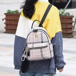 Santaka - Plaid Faux Leather Mini Backpack