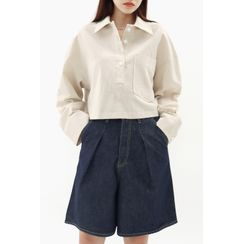 SIMPLY MOOD - Half-Placket Patch-Pocket Cropped Shirt