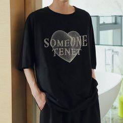 Mr. Wordy(ミスターワーディ) - Elbow-Sleeve Heart T-Shirt