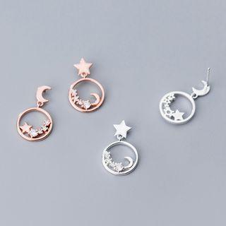 A'ROCH - 925 Sterling Silver Rhinestone Moon & Star Dangle Earring