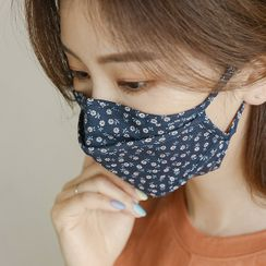 JUSTONE - Adjustable-Strap Flower-Pattern Fabric Mask