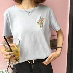 HotBlock - T-Shirt mit Blumen-Stickerei