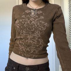 Honet - Printed Crewneck Long Sleeve Top