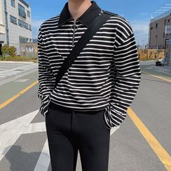 MRCYC - Long-Sleeve Striped Half-Zip Polo Shirt