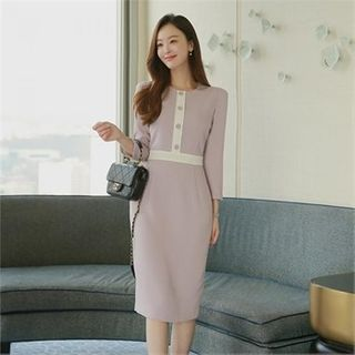 Styleberry - Round-Neck Contrast-Trim Dress