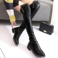 loverlane - Studded Block Heel over-The-Knee Boots