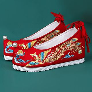 July Lotus - Retro Chinese Embroidered Hidden Wedge Slip-ons