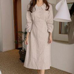 Leoom - Long-Sleeve Midi A-Line Shirt Dress