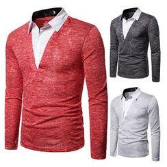 Peibo - Mock Two Piece Long-Sleeve Polo Shirt