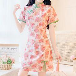 MePanda - Short-Sleeve Floral Print Mini Sheath Qipao Dress