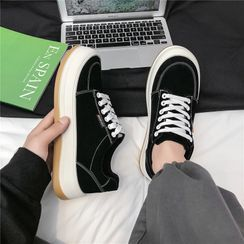 TATALON - Round-Toe Lace-Up Canvas Sneakers