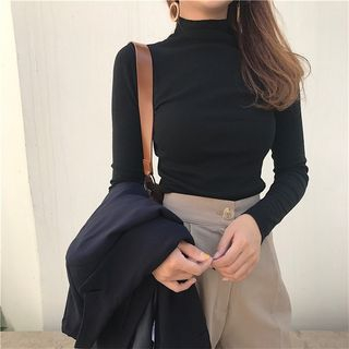 santrani - Stand Collar Long Sleeve T-Shirt