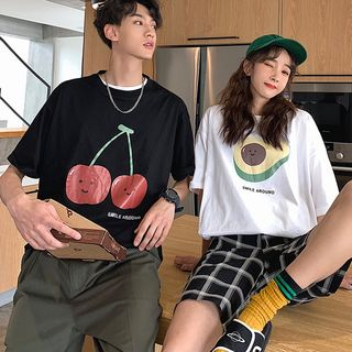 Tonni's - Couple Matching Elbow-Sleeve Printed T-Shirt