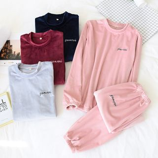 Somnus - Couple Matching Pajama Set: Fleece Top + Pants