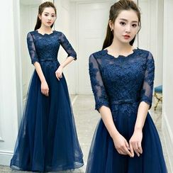 Sennyo - Elbow-Sleeve Lace Panel Evening Gown