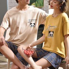 Jeony - Couple Matching Printed Short Sleeve Pajama Set