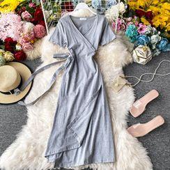 Yearnin - Wrap-Front V-Neck Short-Sleeve Dress
