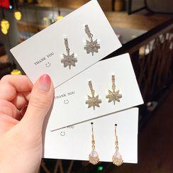 Gold Beam - Rhinestone Dangle Earring (various designs)